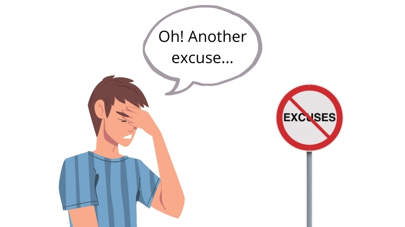 A man worried about making too much excuses