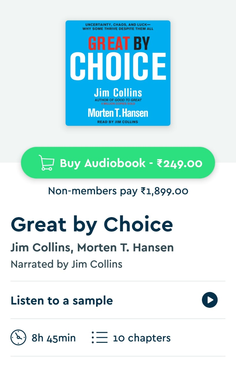 Great by choice audiobook on Blinkist