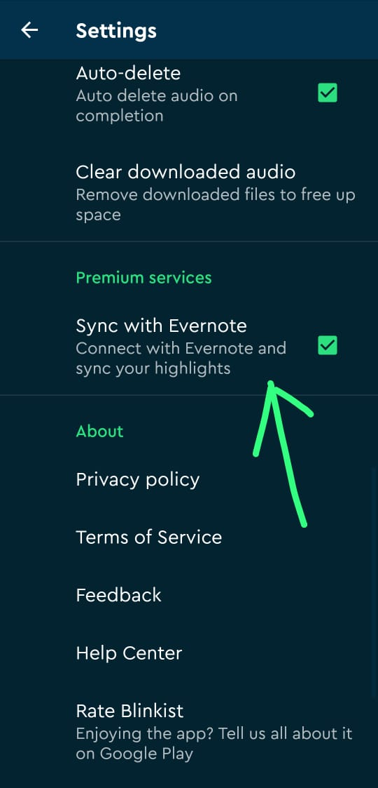 syncing with evernote option in Blinkist app