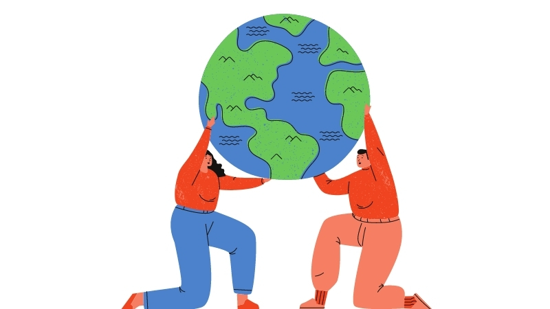a man and a woman holding the planet earth