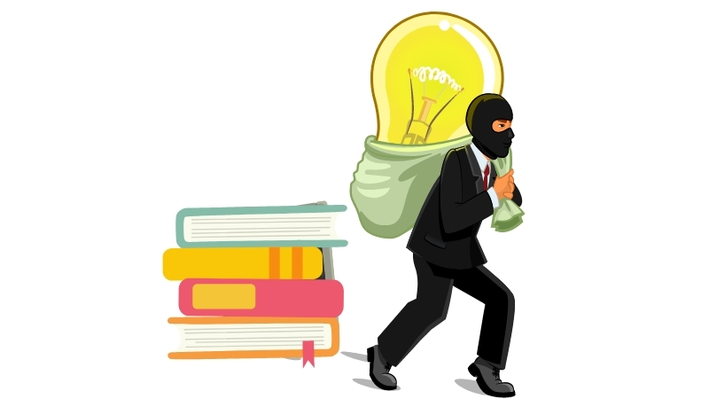 a thief stealing ideas from books