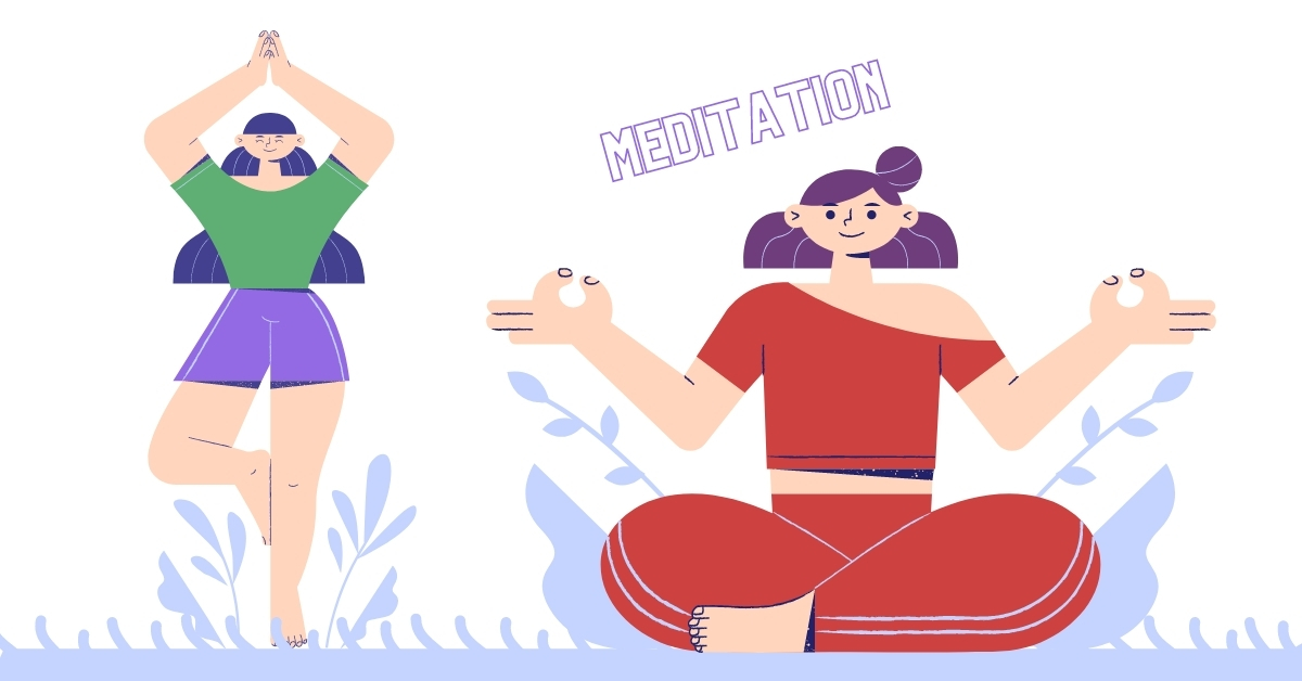 girls practicing meditation and yoga to become mindful