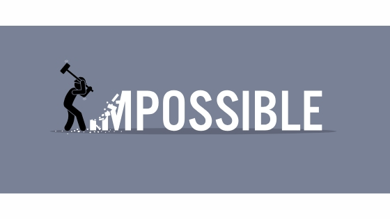 man defeating impossible