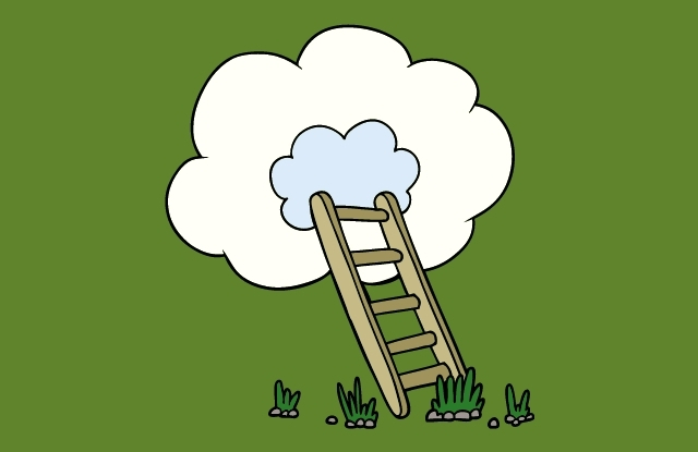 stairs to the heaven reaching high up to clouds