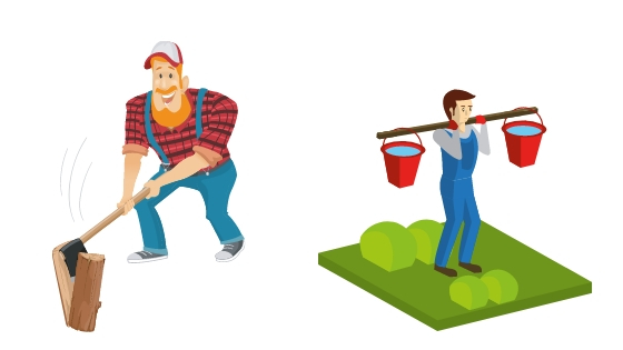 two man chopping wood and carrying water